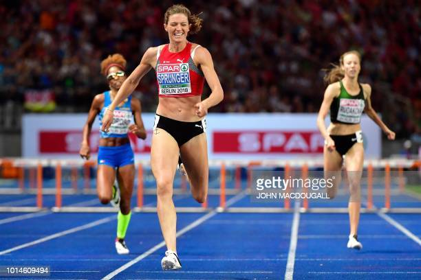 Switzerland's Lea Sprunger wins the women's 400m Hurdles final race during the European Athletics Championships at the Olympic stadium in Berlin on...
