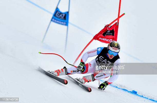 Switzerland's Loic Meillard competes during the men's SuperG combined event of the FIS Alpine Ski World Cup in Bansko on February 22 2019