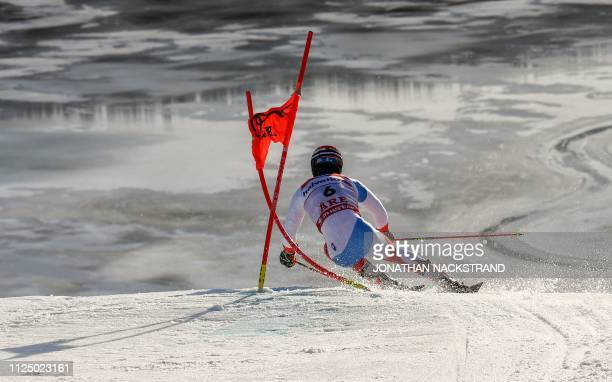 Switzerland's Loic Meillard competes in the first run of the men's Giant slalom event at the 2019 FIS Alpine Ski World Championships at the National...