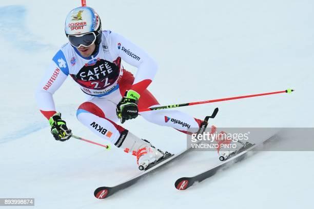 Switzerland's Loic Meillard competes in the FIS Alpine World Cup Men's Giant Slalom on December 17, 2017 in Alta Badia, Italian Alps. / AFP PHOTO /...