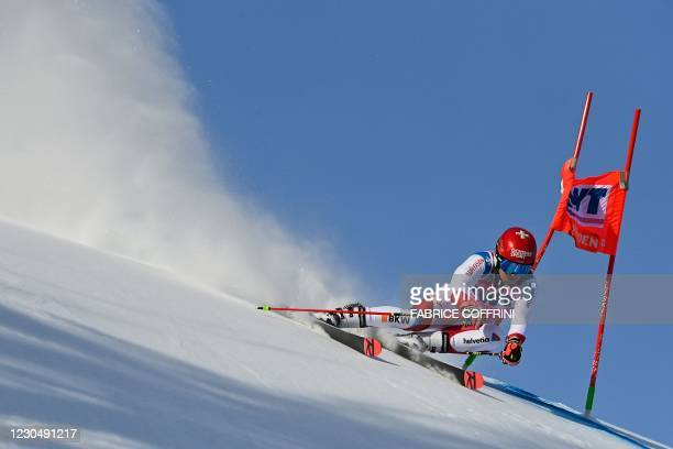 Switzerland's Loic Meillard competes in the round 1 of the Men's Giant Slalom race during the FIS Alpine ski World Cup on January 9 in Adelboden.