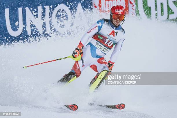 Switzerland's Loic Meillard reacts after the second run of the men's Slalom event at the FIS Alpine Ski World Cup in Schladming, Austria on January...