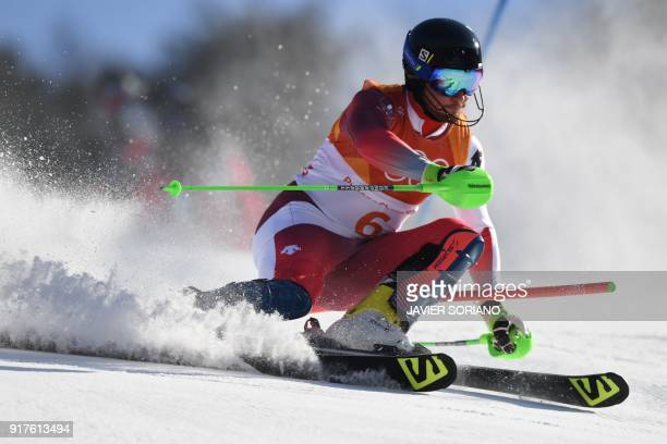 TOPSHOT Switzerland's Luca Aerni competes in the Men's Alpine Combined Slalom at the Jeongseon Alpine Center during the Pyeongchang 2018 Winter...