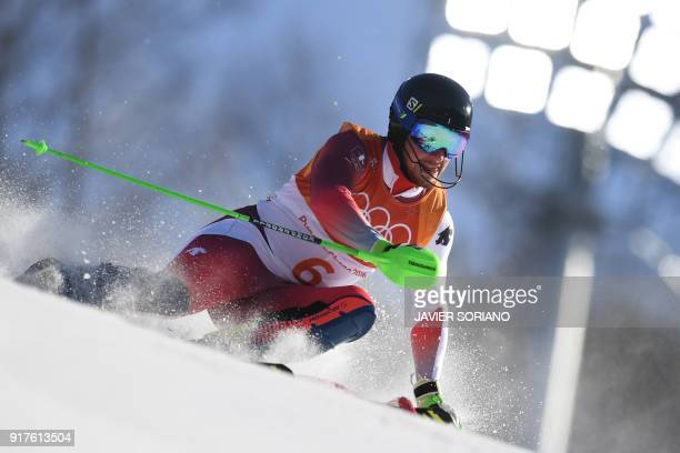 Switzerland's Luca Aerni competes in the Men's Alpine Combined Slalom at the Jeongseon Alpine Center during the Pyeongchang 2018 Winter Olympic Games...