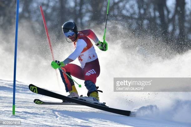 TOPSHOT Switzerland's Luca Aerni competes in the Men's Slalom at the Yongpyong Alpine Centre during the Pyeongchang 2018 Winter Olympic Games in...