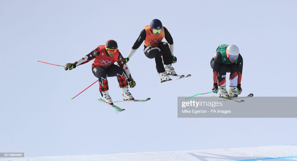 Switzerland's Marc Bischofberger wins his heat in the Men's Ski Cross at the Phoenix Snow Park during day twelve of the PyeongChang 2018 Winter Olympic Games in South Korea.