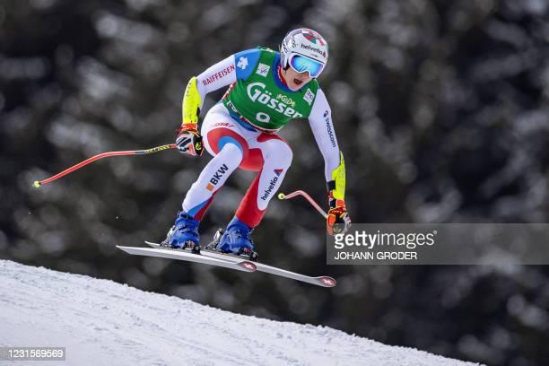 Switzerland's Marco Odermatt competes during the men's Super G race of the FIS Ski Alpine World Cup in Saalbach-Hinterglemm, Austria on March 7,...