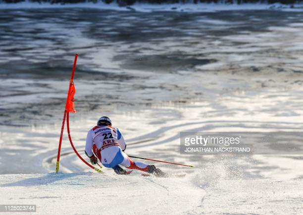 TOPSHOT Switzerland's Marco Odermatt competes in the first run of the men's Giant slalom event at the 2019 FIS Alpine Ski World Championships at the...