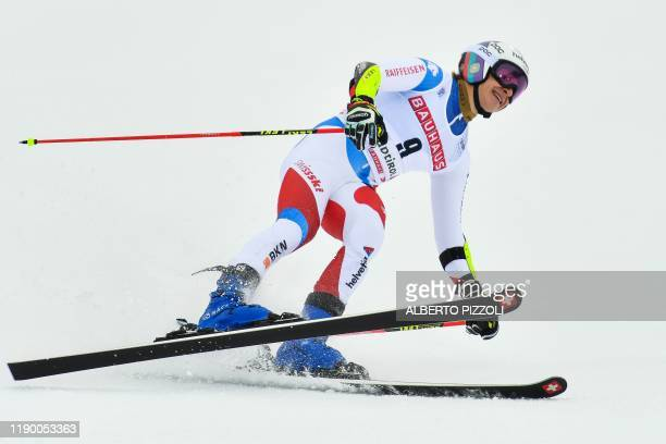 Switzerland's Marco Odermatt reacts in pain after crossing the finich line of the second run of the Men's Giant Slalom of the FIS Alpine World Cup on...