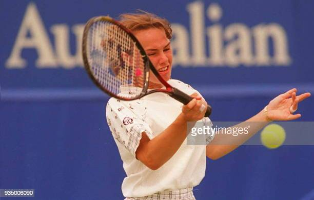 Switzerland's Martina Hingis plays a forehand return to Japan's Mana Endo during the third round the Australian Open in Melbourne 20 January Hingis...