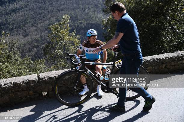Switzerland's Mathias Frank reacts during the 1815km 7th stage of the 77th ParisNice cycling race stage between Nice and Col de Turini La Bollene...