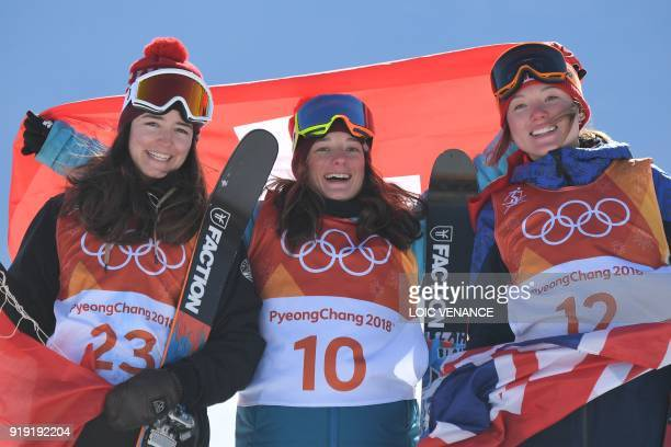 Switzerland's Mathilde Gremaud Switzerland's Sarah Hoefflin and Great Britain's Isabel Atkin celebrate on the podium during the victory ceremony...