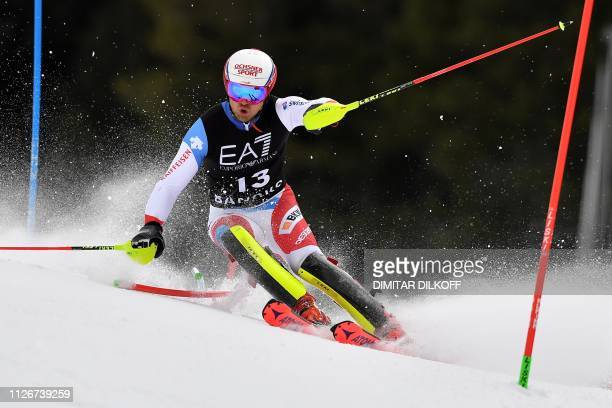 Switzerland's Mauro Caviezel competes in the men's alpine combined of the FIS Alpine Ski World Cup in Bansko on February 22 2019