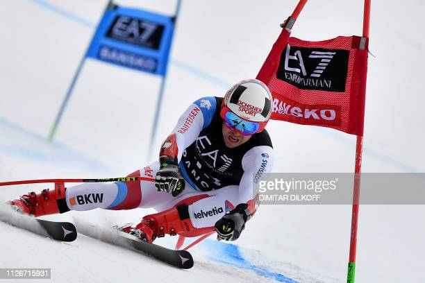 Switzerland's Mauro Caviezel competes in the men's SuperG combined event of the FIS Alpine Ski World Cup in Bansko Bulgaria on February 22 2019