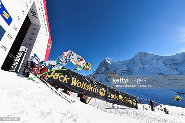 Switzerland's Max Franz takes the start of the training session for the men's downhill race of the FIS Alpine Skiing World Cup at the Lauberhorn in...