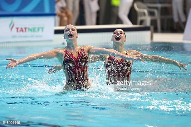 Switzerland's Maxence Bellina end Maria Piffaretti perform during the Duet Free Routine Final at the 15th FINA World Junior Synchronised Swimming...