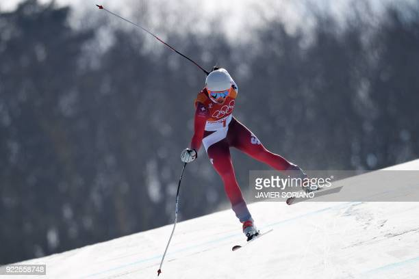 TOPSHOT Switzerland's Michelle Gisin competes in the Women's Alpine Combined Downhill at the Jeongseon Alpine Center during the Pyeongchang 2018...