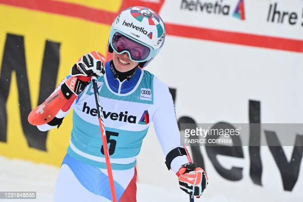 Switzerland's Michelle Gisin reacts in the finishing area after competing in the second run of the Women's Giant Slalom event during the FIS Alpine...