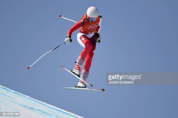 Switzerland's Michelle Gisin takes part in the 3rd training of the Alpine Skiing Women's Downhill at the Jeongseon Alpine Center during the...