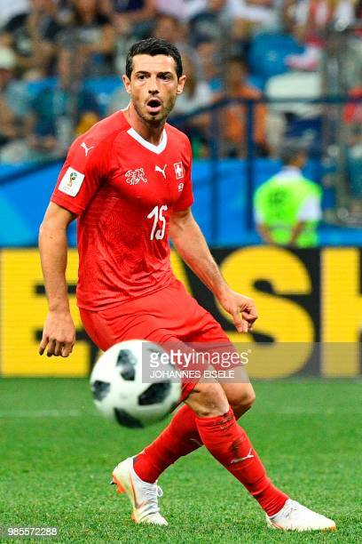 Switzerland's midfielder Blerim Dzemaili controls the ball during the Russia 2018 World Cup Group E football match between Switzerland and Costa Rica...