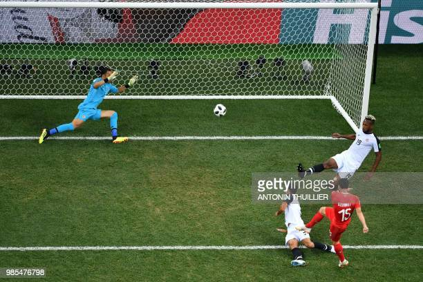 TOPSHOT Switzerland's midfielder Blerim Dzemaili shoots and scores the opening goal during the Russia 2018 World Cup Group E football match between...