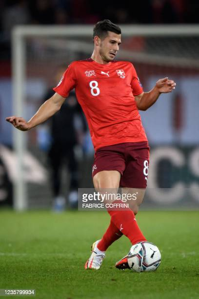 Switzerland's midfielder Remo Freuler controls the ball during FIFA World Cup Qatar 2022 qualification football match between Switzerland and...