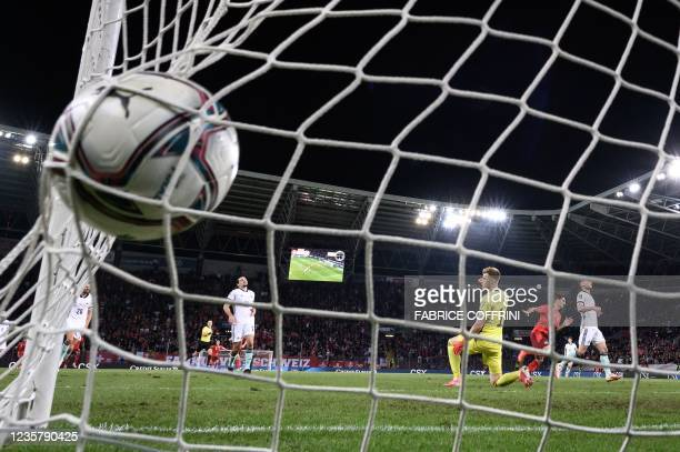 Switzerland's midfielder Steven Zuber celebrates scoring his team's first goal during FIFA World Cup Qatar 2022 qualification football match between...