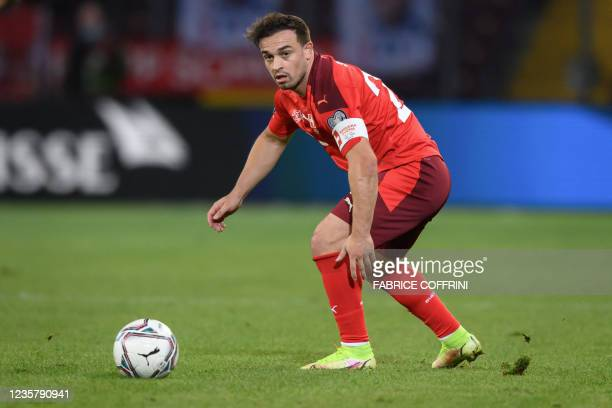 Switzerland's midfielder Xherdan Shaqiri looks on during the FIFA World Cup 2022 Group C qualification football match between Switzerland and...