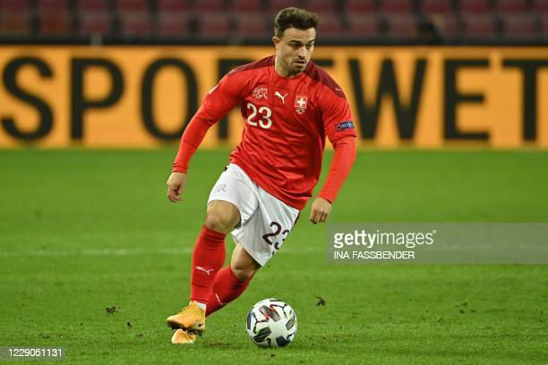 Switzerland's midfielder Xherdan Shaqiri plays the ball during the UEFA Nations League football match Germany v Switzerland in Cologne, Western...