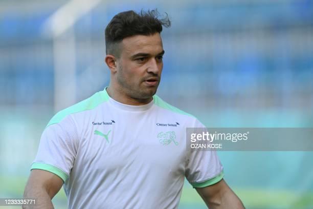 Switzerland's midfielder Xherdan Shaqiri takes part a training session at Dalga Arena stadium on June 8, 2021 in Baku ahead of the UEFA Euro 2020...