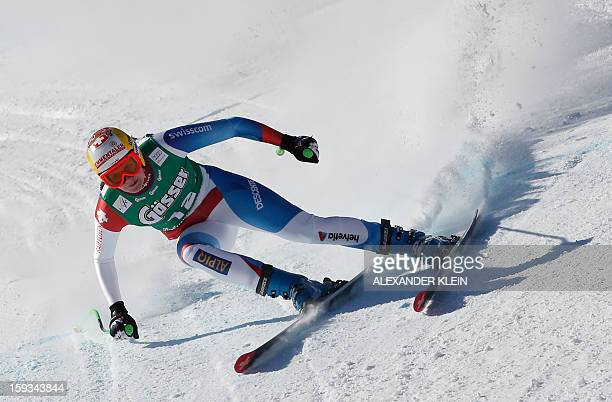 Switzerland's Nadja Kamer competes during the St Anton Women's downhill competition as part of the 2013 FIS Ski World Cup held in Sankt Anton Austria...