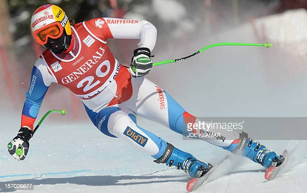 Switzerland's Nadja Kamer skis during the downhill practice of the Alpine Skiing World Cup in Lake Louise on November 27 2012 Lindsey Vonn of the US...