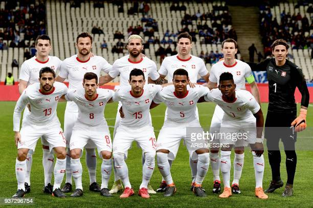Switzerland's national football team players Granit Xhaka Haris Seferovic Valon Bahrami Fabian Schar Stephan Lichtsteiner Yann Sommer Ricardo...