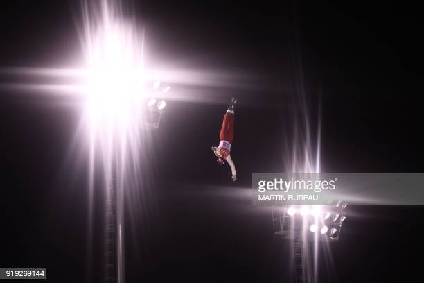 TOPSHOT Switzerland's Nicolas Gygax competes in the men's aerials qualification event during the Pyeongchang 2018 Winter Olympic Games at the Phoenix...