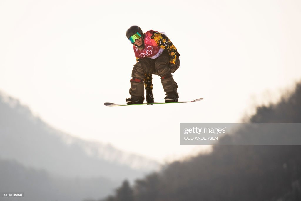 Switzerland's Nicolas Huber competes during the qualification of the men's snowboard big air event at the Alpensia Ski Jumping Centre during the Pyeongchang 2018 Winter Olympic Games in Pyeongchang on February 21, 2018. / AFP PHOTO / Odd ANDERSEN