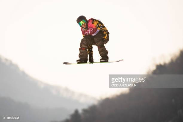 Switzerland's Nicolas Huber competes during the qualification of the men's snowboard big air event at the Alpensia Ski Jumping Centre during the...