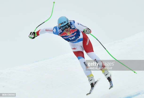 Switzerland's Patrick Kueng performs during a training session of the FIS Alpine World Cup Men's downhill event in Kitzbuehel Austria on January 18...