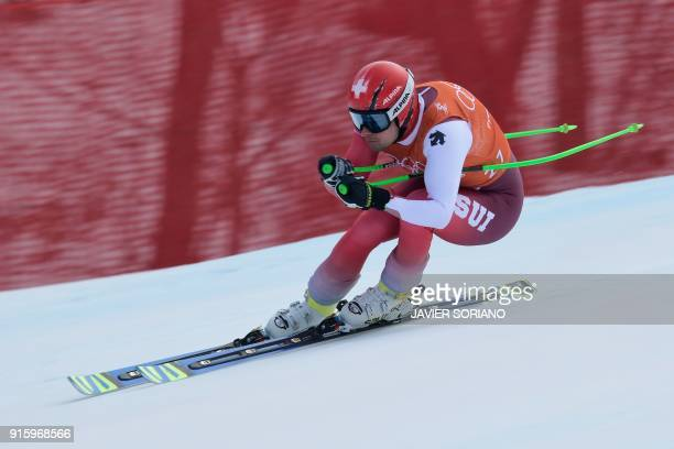 Switzerland's Patrick Kueng takes part in the Men's Downhill 2nd training at the Jeongseon Alpine Center during the Pyeongchang 2018 Winter Olympic...