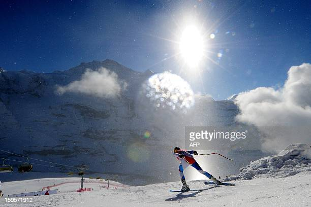 Switzerland's Patrick Kueng takes the start during the Men's World cup Downhill training on January 16 2012 in Wengen AFP PHOTO / OLIVIER MORIN