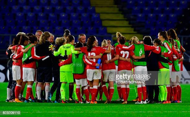Switzerland's players react at the end of the UEFA Women's Euro 2017 football match between Switzerland and France at the Rat Verlegh Stadium in...