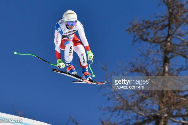 Switzerland's Priska Nufer competes in the downhill race of the Women's Alpine Combined competition during the FIS Alpine Ski World Cup, on February...