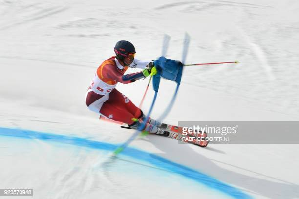 TOPSHOT Switzerland's Ramon Zenhaeusern competes in the Alpine Skiing Team Event 1/8 finals at the Jeongseon Alpine Center during the Pyeongchang...