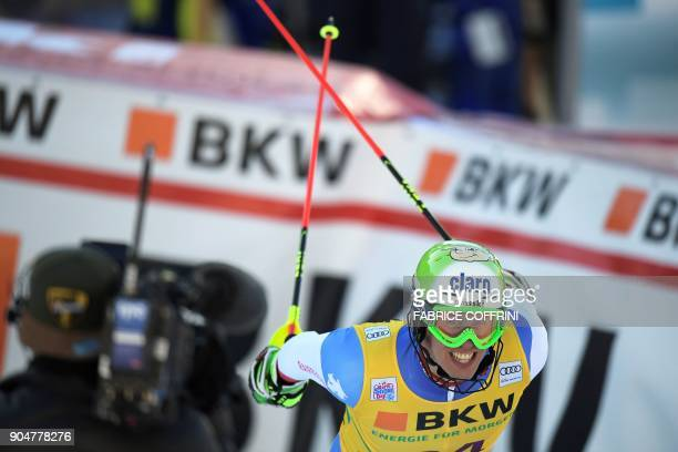Switzerland's Ramon Zenhaeusern reacts in the finish area after the second run of the men's Slalom race at the FIS Alpine Skiing World Cup in Wengen...