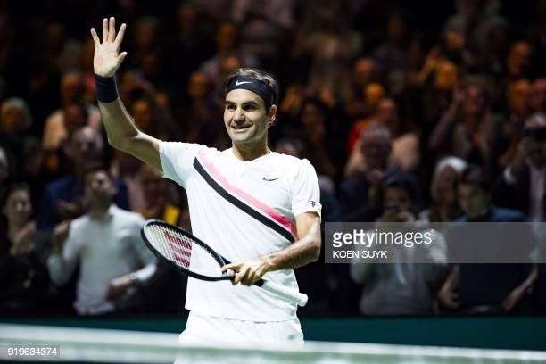 Switzerland's Roger Federer celebrates after winning against Italy's Andreas Seppi during their semifinal tennis match of the ABN AMRO World Tennis...