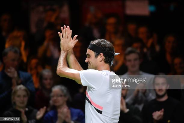 Switzerland's Roger Federer celebrates after winning over Netherlands Robin Haase in their quarterfinal singles tennis match at the ABN AMRO World...