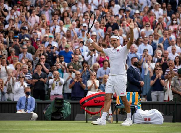 Switzerland's Roger Federer celebrates winning against France's Richard Gasquet during their men's singles second round match on the fourth day of...