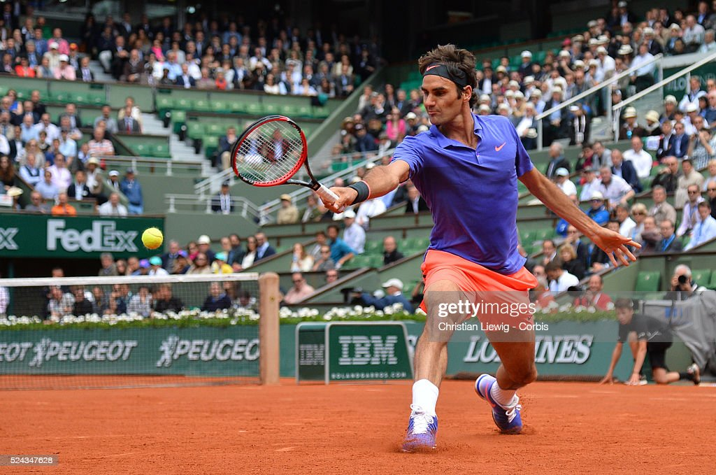 Switzerland's Roger Federer during the 1/8 final round of the 2015 French Tennis Open in Stadium Roland-Garros, Paris, France on June 1st,2015.. photo by Christian liewig
