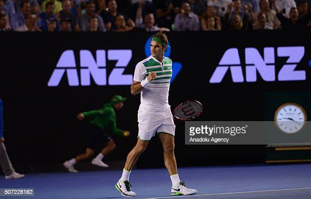 Switzerland's Roger Federer gestures during his men's singles semi-final match against Serbia's Novak Djokovic on day eleven of the 2016 Australian...