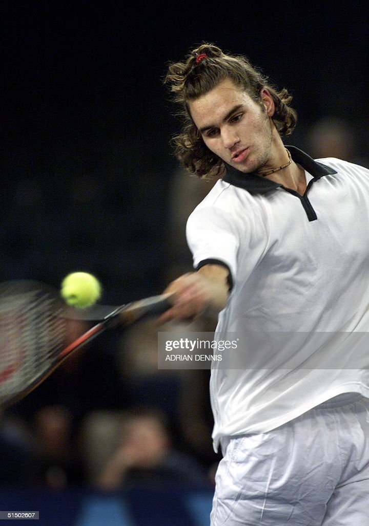 Switzerland's Roger Federer hits a forehand during : News Photo