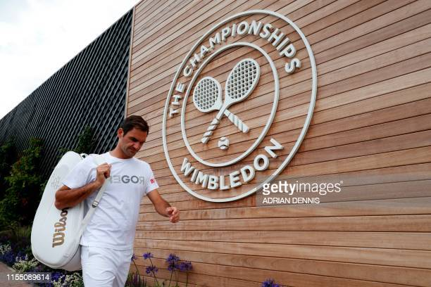 Switzerland's Roger Federer is seen at the practice courts on day ten of the 2019 Wimbledon Championships at The All England Lawn Tennis Club in...